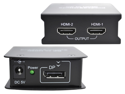 Display Port to HDMI Splitter One to Two HDMI Output - Top and Bottom