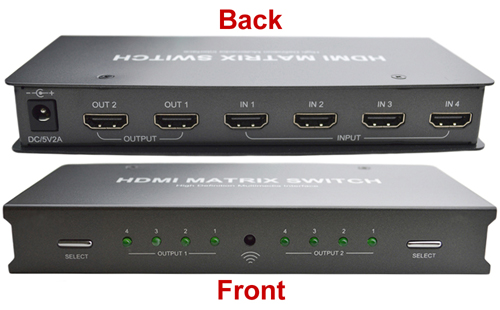 4x2 Port HDMI Matrix Switch - Labelled Front and Back